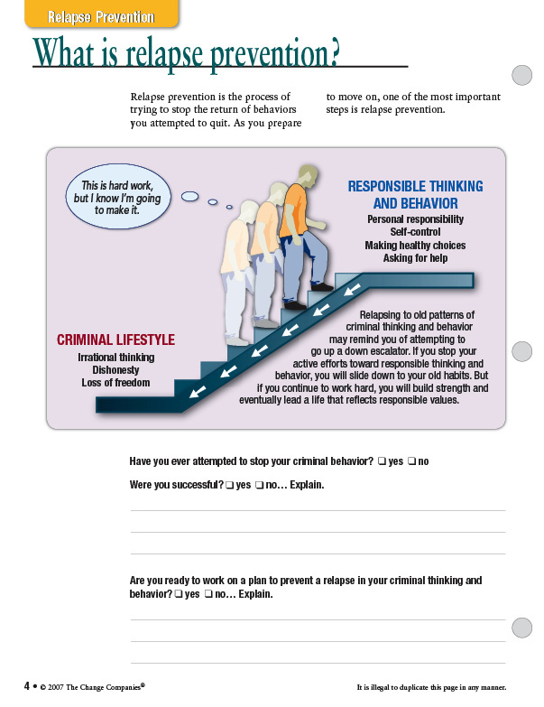 The Change Companies – Relapse Prevention Worksheet